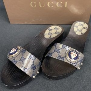 GUCCI CRYSTALL GG BEIGE BLUE SHOES